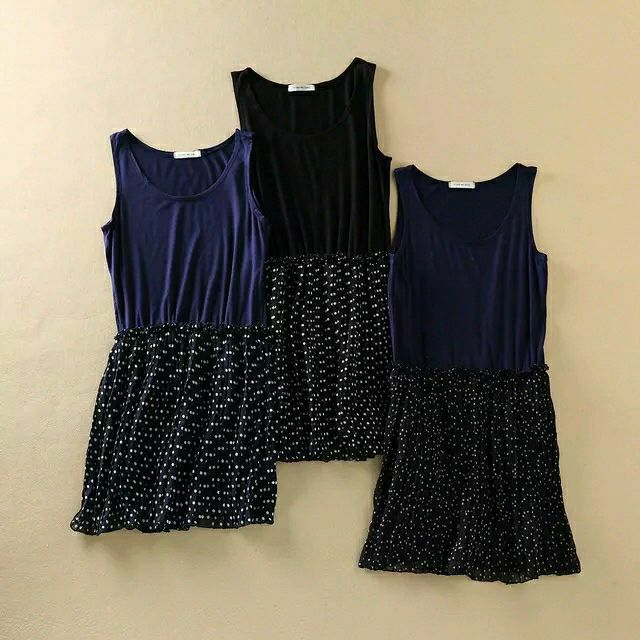 波點褶皺木耳邊拼接高腰無袖百褶背心裙共三色