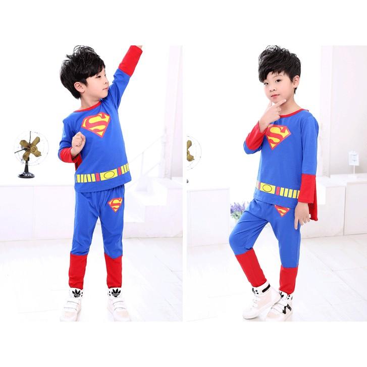 2016  兒童長袖超人套裝男童秋套裝純棉小孩衣服兩件套