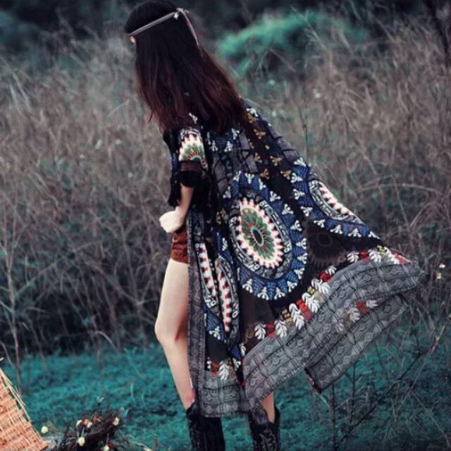 ( )雪紡開衫披風外搭原創民族風復古印花中長款流蘇雪紡開衫防曬衫外套