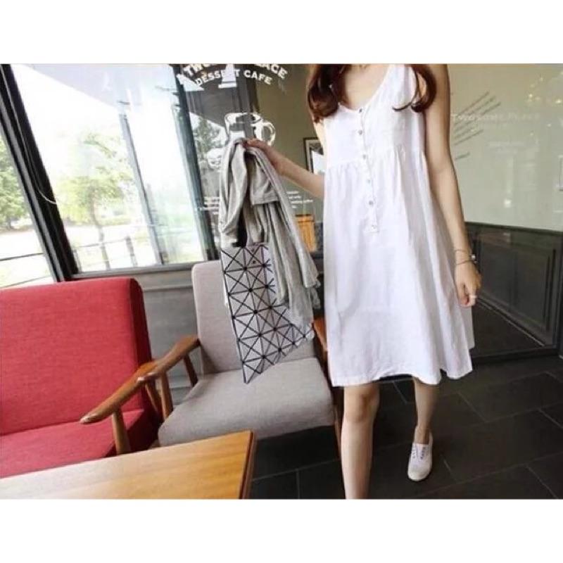 白色無袖洋裝孕婦裝哺乳衣哺乳洋裝