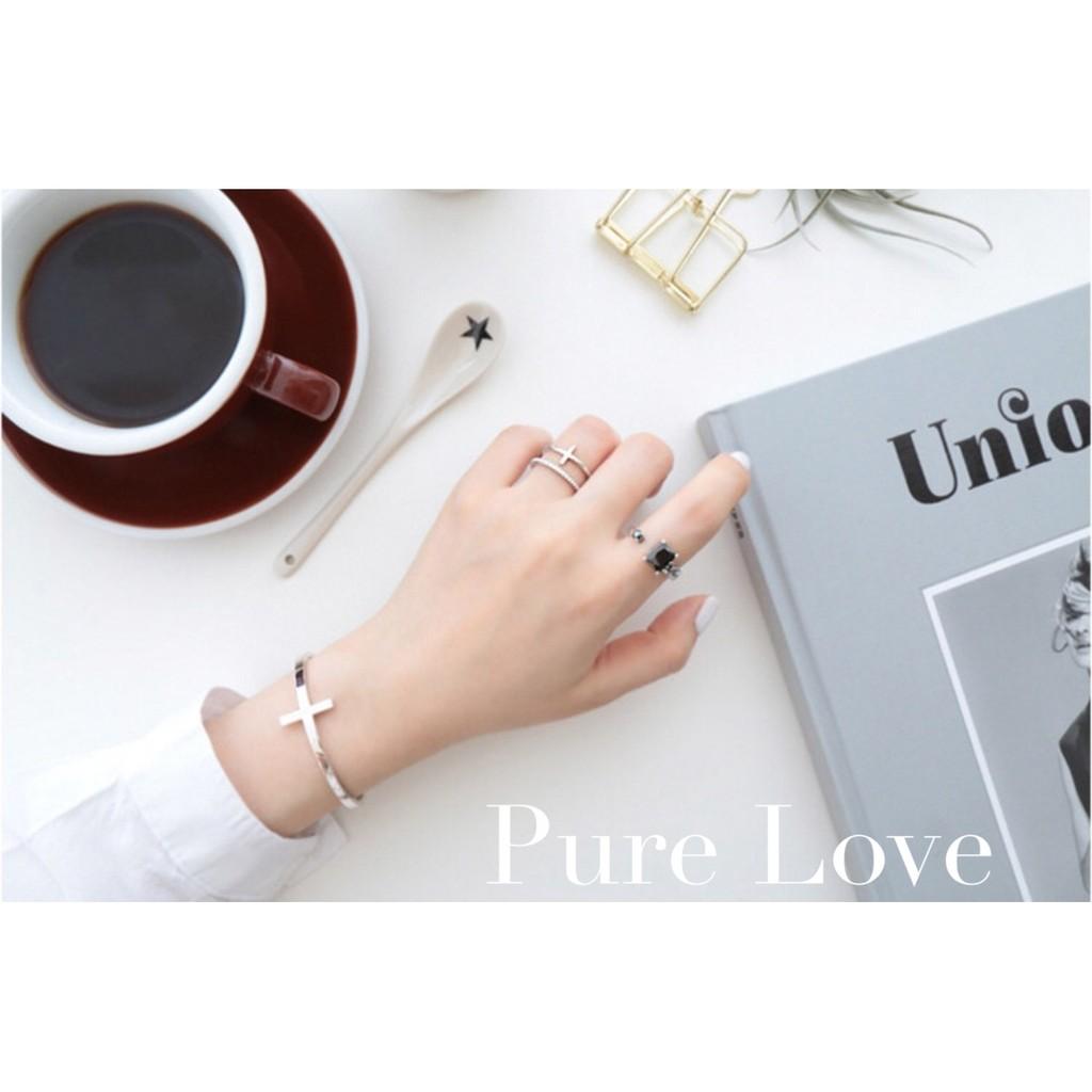 Pure Love 樂芙正韓~R0155 ~韓系簡約925 純銀復古方形黑瑪瑙鏈條開口戒指