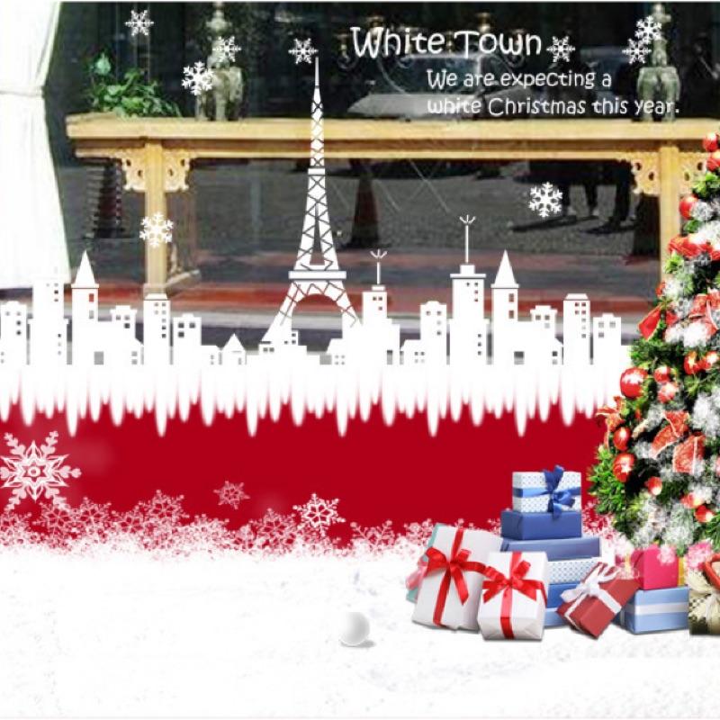 聖誕純白壁貼聖誕節 壁貼玻璃貼下雪牆貼車貼馴鹿聖誕老人聖誕老公公重複撕貼室內佈置房間客廳P