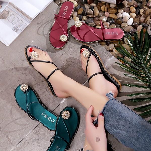 ~ ~圓花朵水鑽線條水鑽鑲邊拖鞋