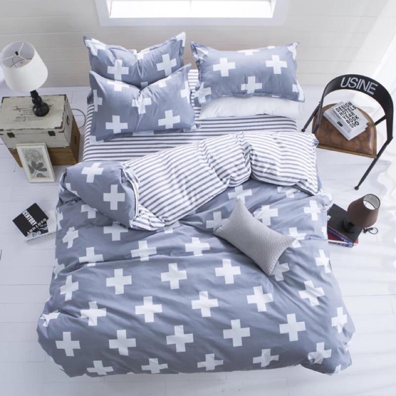 北歐十字四件組床包組床單床包被套枕套床組ikea Zera 雙人床單人床雙人加大