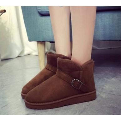 119 043 雪地靴冬靴防水防滑真皮男女鞋靴子加厚棉鞋平跟平底中筒短靴短筒38 咖啡色