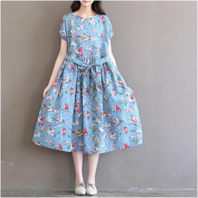 日系寬鬆輕文藝花鳥短袖長裙洋裝連衣裙( 約10 ~14 天到貨)