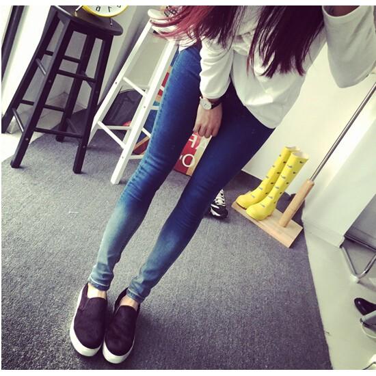 春秋 學生九分牛仔褲女高腰漸變小腳褲修身彈力鉛筆長褲潮