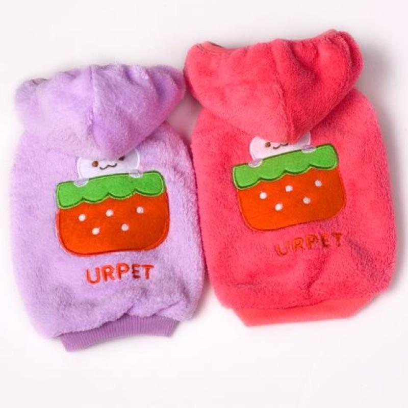 ~yumico 小舖~寵物衣服草莓兔珊瑚絨連帽背心