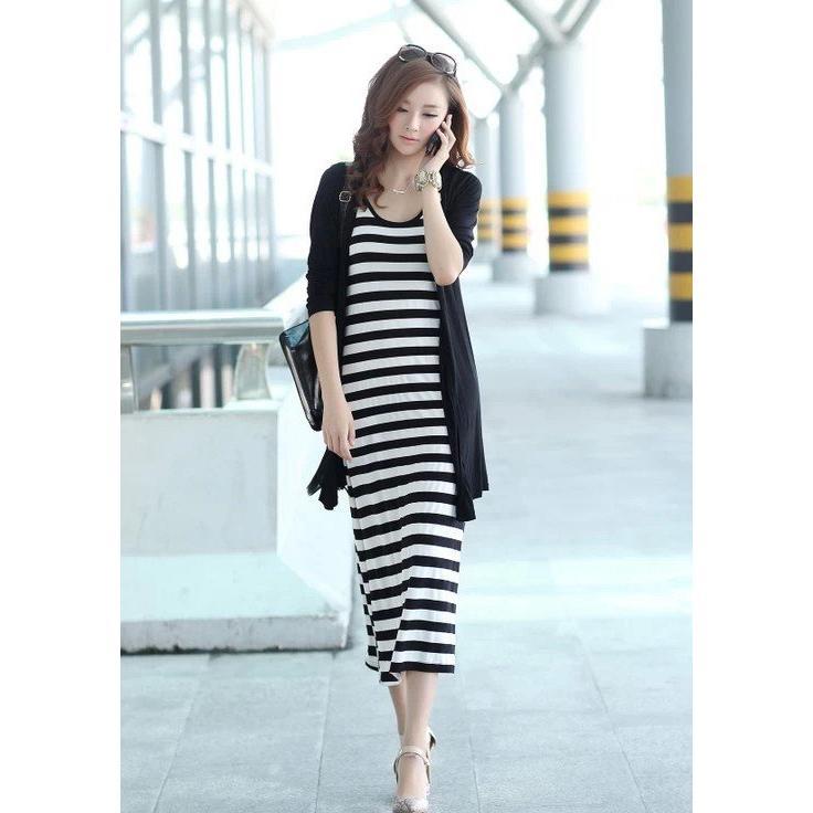 黑白條紋柔順莫代爾面料長款背心裙吊帶裙連身長裙