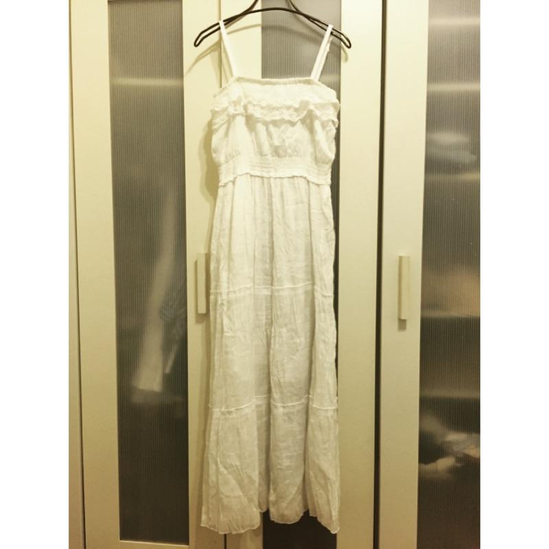 ~夏末 ~細肩帶縮腰蕾絲長洋裝(白色)
