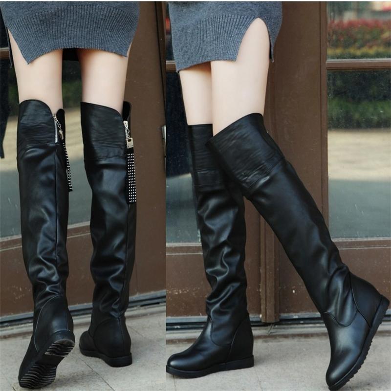 秋 單靴子內增高平底大筒圍過膝長靴顯瘦高筒騎士靴粗腿大碼鞋