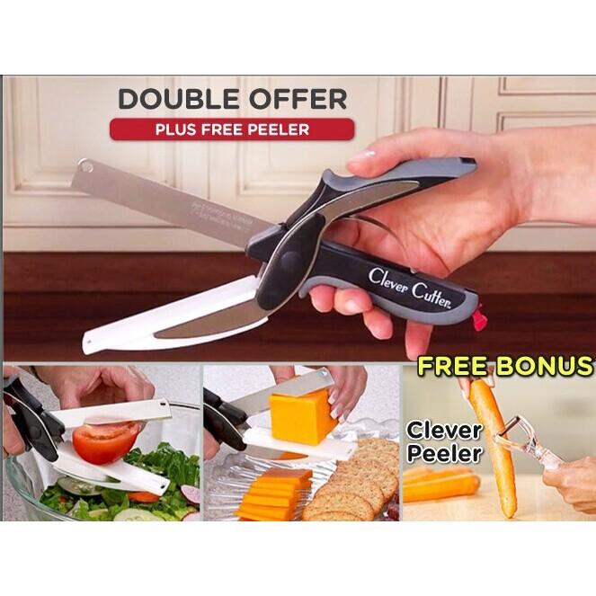 免 CleverCutter 多 食物剪刀TV 剪刀砧板2 合1 蔬果料理剪刀萬能切菜剪