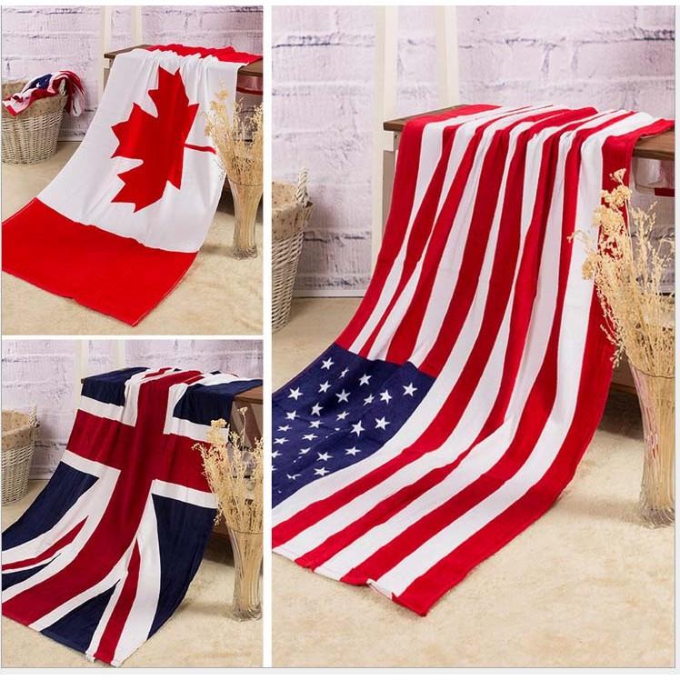 _ 國旗70x140 美國國旗英國國旗加拿大海灘巾浴巾毛巾沙灘巾游泳衝浪