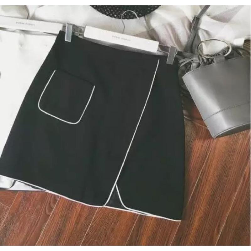 復古港味chic 簡約撞色線條包邊不規則顯瘦半身裙 短裙A 字裙