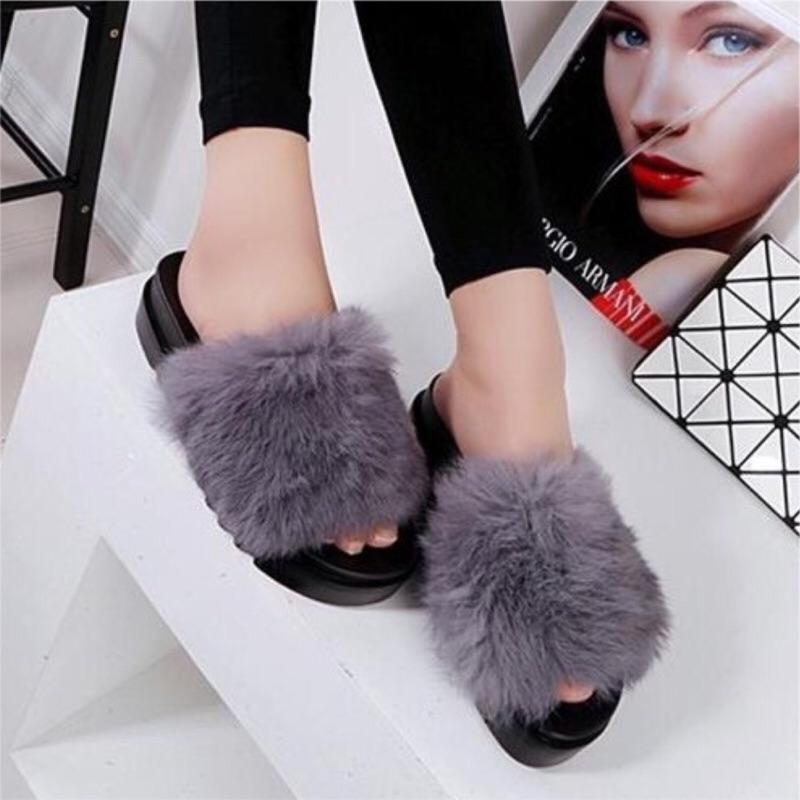 韓國爆款⚡️⚡️真兔毛平底拖鞋厚底鞋松糕鞋增高 599 元 350 元