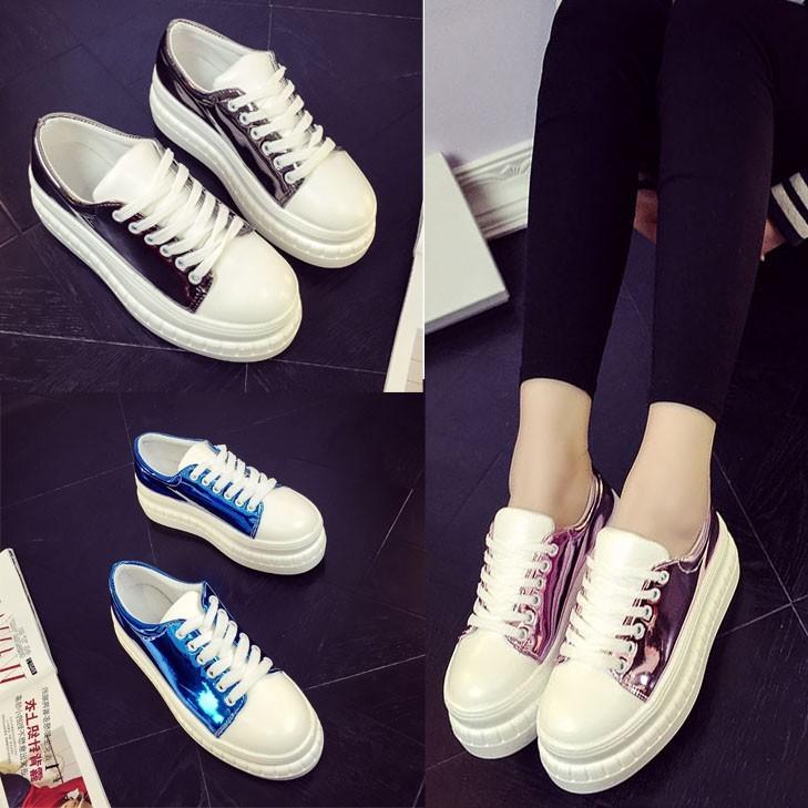 松糕鞋女厚底潮圓頭皮鞋女高跟漆皮樂福鞋系帶真皮小白鞋