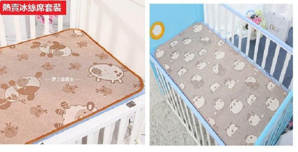 買席子送枕頭儿童草席嬰兒涼席寶寶凉席兒童嬰兒床涼席亞麻冰絲草席