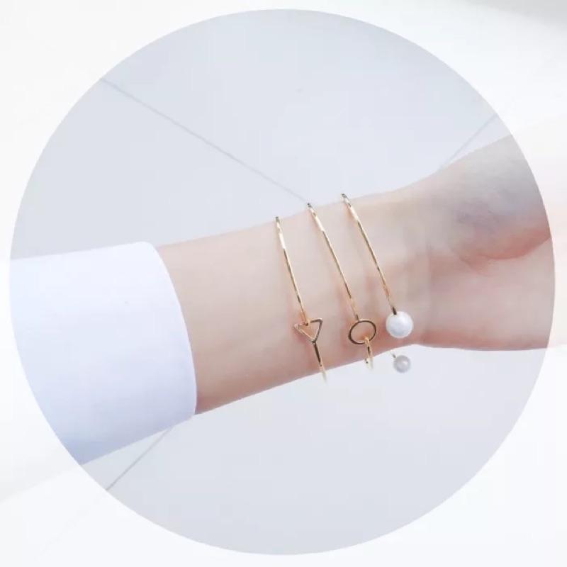 韓國氣質優雅飾品鍍金幾何三角圓圈珍珠手鐲套裝簡約氣質手鍊手環