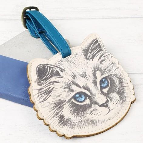 SECOND LOOK 英國雜貨藍眼貓咪先生圓點點超可愛行李 .自留款