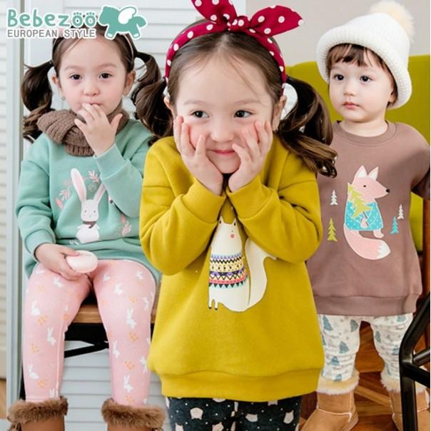 韓國Bebezoo 俏皮動物印花保暖加厚圓領上衣綠色芥黃色咖啡色