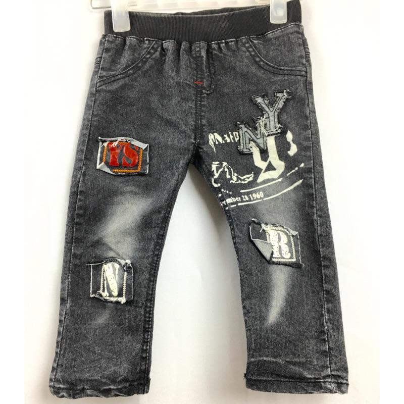 80 120 碼破股磨白字母牛仔褲長褲褲子外貿 中小童 裝2 10 歲