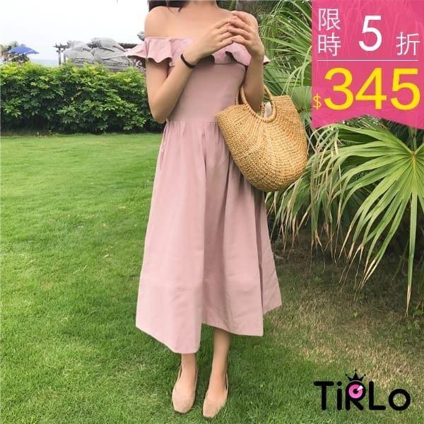 洋裝Tirlo 仙女度假風荷葉一字領縮腰長洋裝單一現追加預計5 7 工作天出貨