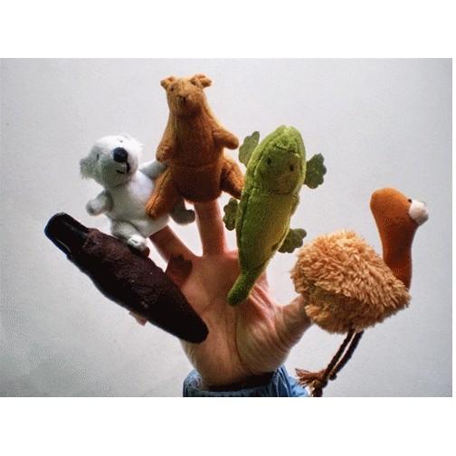 澳洲一套五款動物指偶 無尾熊袋鼠鱷魚鴨嘴獸鴕鳥毛絨玩具說故事幫手生日 聖誕