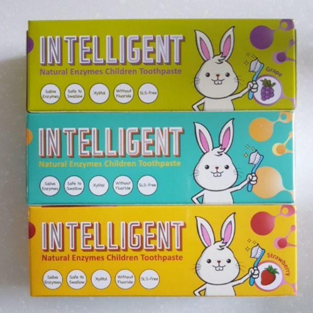 INTELLIGENT 因特力淨兒童酵素牙膏原味草莓葡萄40G 無毒可吞食寶貝QQ 刷