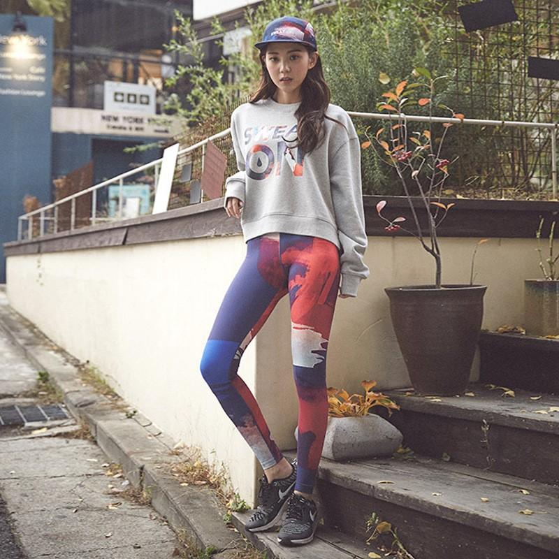 韓國緊身 長褲女高彈力速干九分束腿褲瑜伽跑步跳操舞蹈健身褲