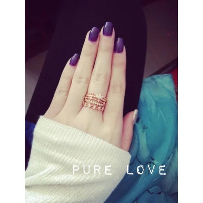 Pure Love 樂芙正韓~R0045 ~氣質優雅蕾絲微鑲嵌水鑽戒指金玫瑰金銀