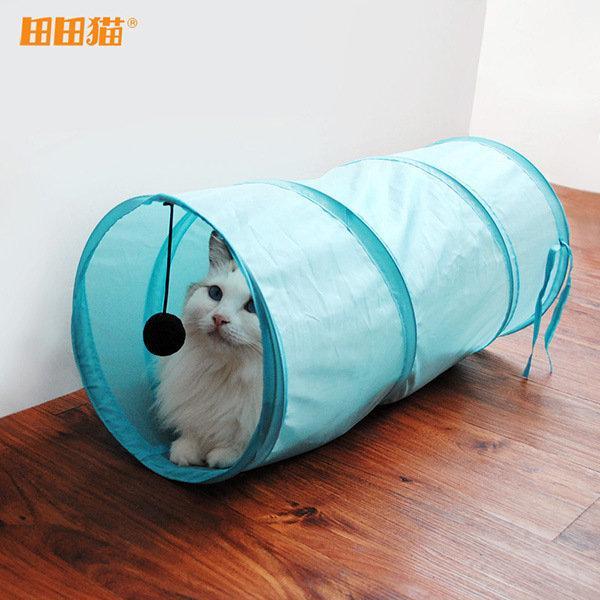 芳之香戀 4 色田田貓咪玩具通道可折帳篷隧道貓窩貓睡袋寵物用品貓玩具貓隧道