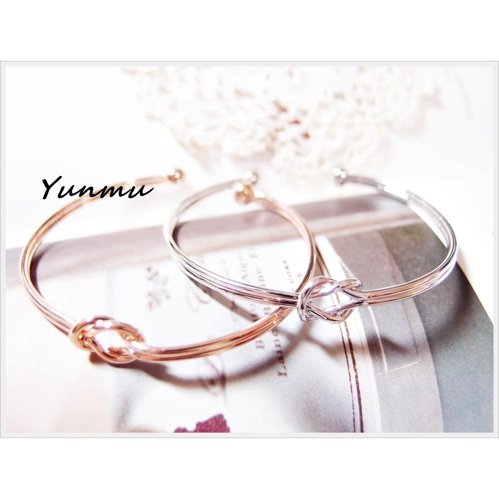 Yunmu 330BR75009 超好搭銀色雙層扭結開口手環