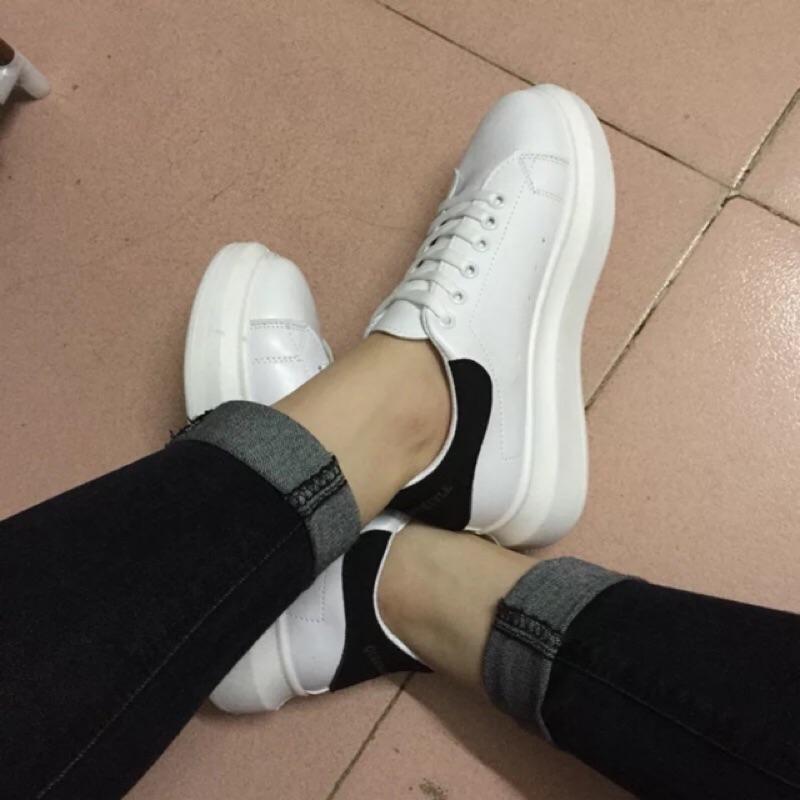 粉39 黑37 38 ‼️ 素色純色綁帶休閒鞋 鞋厚底鞋慢跑鞋貝殼鞋