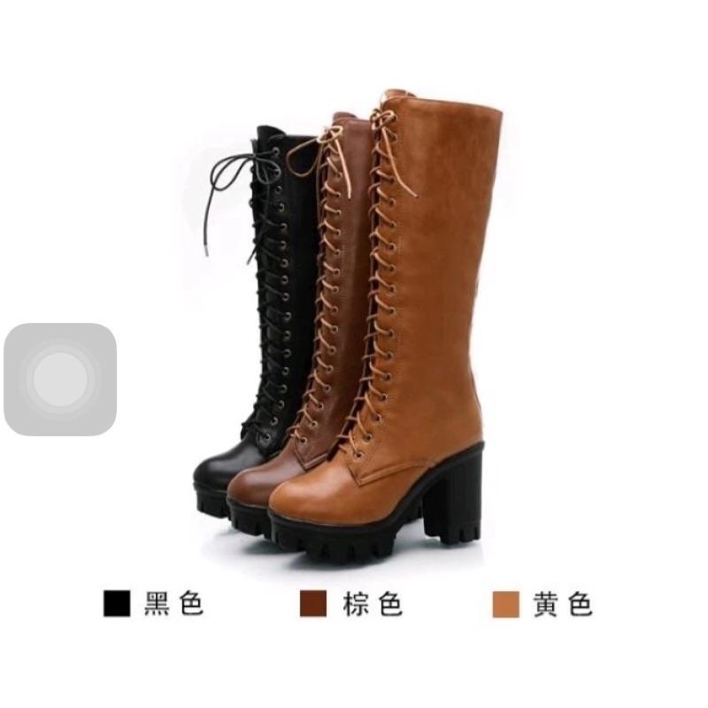 土黃 英倫粗跟馬丁靴休閒厚底繫帶綁帶女靴長靴女高筒靴黑棕色咖啡土黃