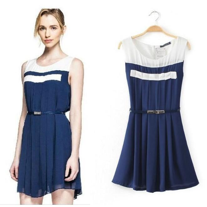 ~°╮VS 館╭°~歐洲 女人我 VIVI 雜誌~優雅氣質洋裝小禮服附腰帶200 元起標L