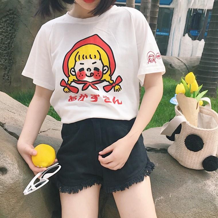 ~下殺價NT 135 ~實拍夏裝女裝日系少女可愛童趣卡通寬鬆短袖t 恤 中袖上衣