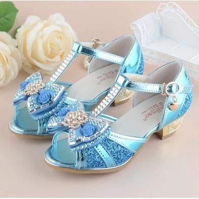 冰雪奇緣 女童公主涼鞋高跟鞋魚嘴大中小童魔術貼蕾絲珍珠涼鞋