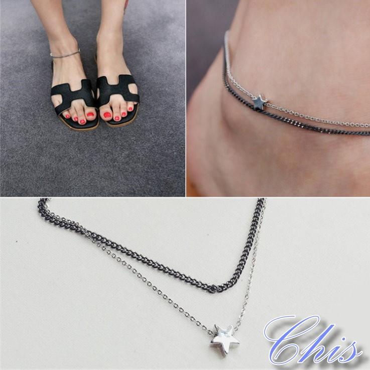 Chis Store ~五角星星雙層腳鍊~韓國 細鍊百搭幸運星手鍊手環小星星情侶閨密對鍊M