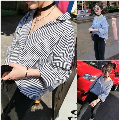 ✨ 韓款 藍白線條直條短袖襯衫反摺反折大碼長袖上衣V 領短袖襯衫顯瘦立領 款