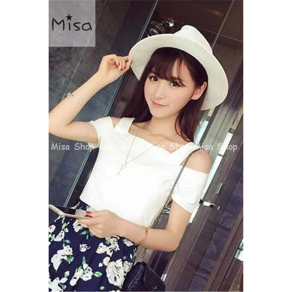 Misa Shop 韓國夏裝 百搭純色性感露肩短袖T 女修身半袖吊帶上衣