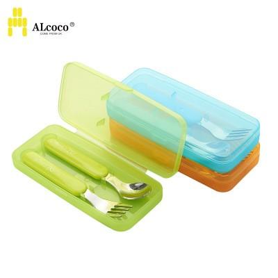 ✨寶寶不鏽鋼防滑學習筷叉湯匙ALCOCO 英國愛倫可可叉子副食品嬰幼兒餐具組無毒外出