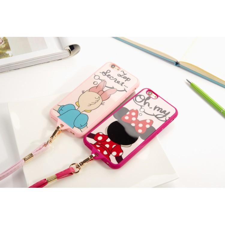 米妮黛西背影TPU 帶掛繩蘋果6s 卡通手機套iphone6s Plus 軟殼5s