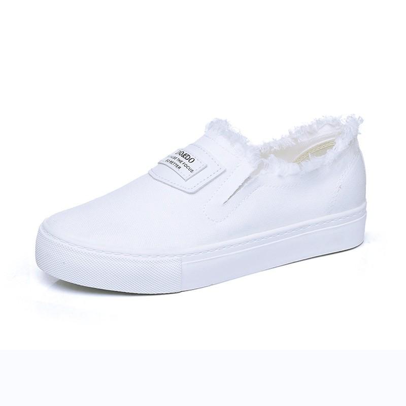 潮電街秋夏小白鞋 女帆布鞋白色板鞋平底樂福鞋一腳蹬懶人鞋 女鞋