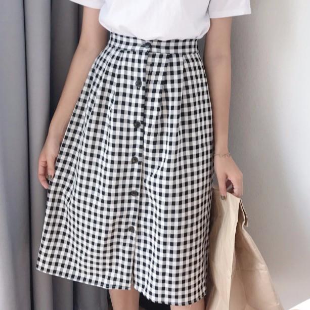 正韓女生洋裝百搭 百搭好看修身顯瘦格子半身裙