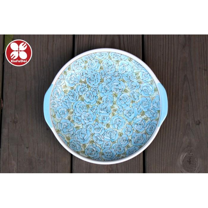 ~興富大行餐具~ 製~有見窯雙耳立體玫瑰花盤藍色~菜盤擺盤點心盤水果盤蛋糕盤湯盤