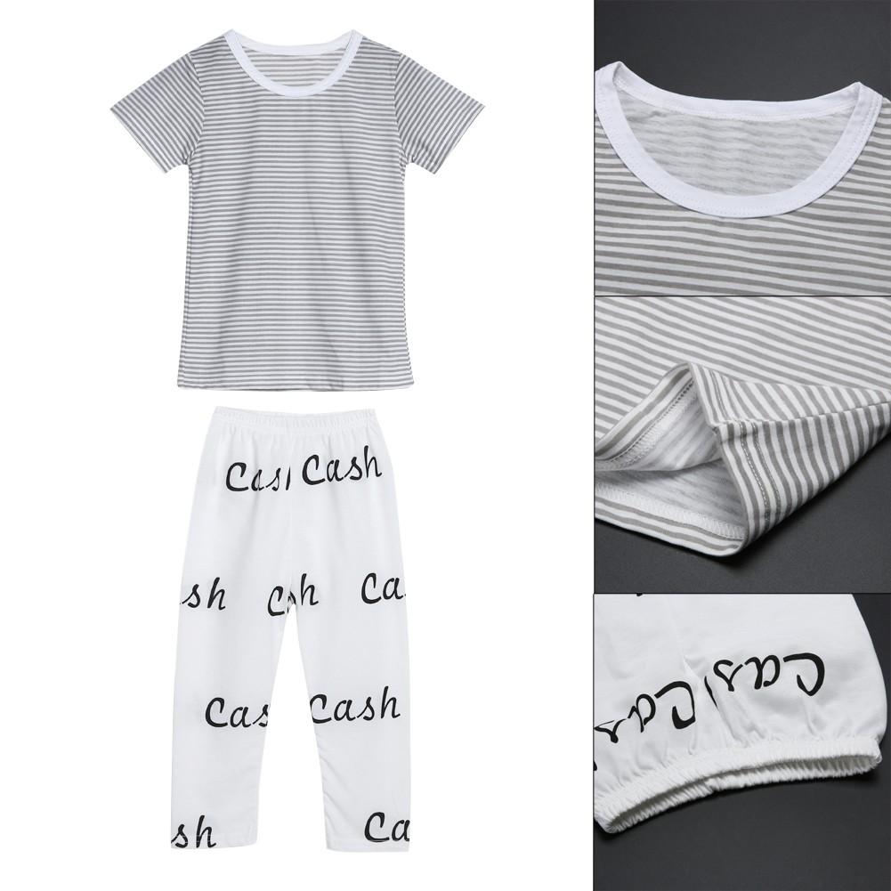 條紋上衣字母褲子卡通舒適純棉內衣套裝