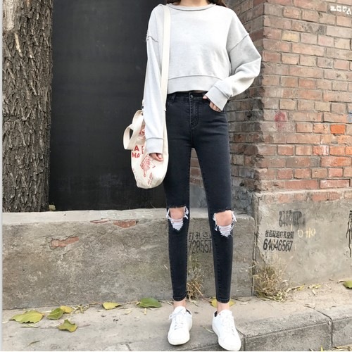 ~ ~M ~M ~牛仔褲 複古高腰彈力顯瘦黑色膝蓋破洞拉絲牛仔褲兩色