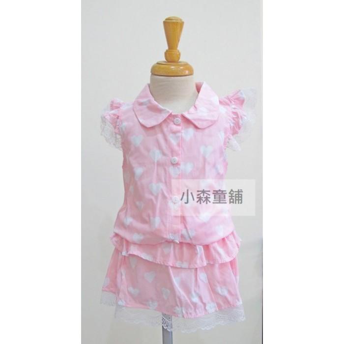 小森童舖春夏日系可愛滿版愛心蕾絲袖口短袖上衣褲裙2 件套裝粉紅水藍5 7 9 11 13