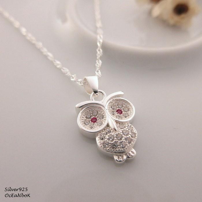 ~~海洋盒子~~精緻璀璨鋯石小貓頭鷹~水波925 純銀項鍊OB4399 ~925 純銀項鍊