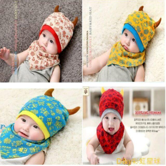 D y 彩虹星球 寶寶嬰兒新生兒可愛小怪獸棉帽帽子口水巾三角巾兩件套